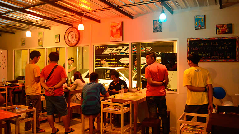 Inside the tuning cafe at RPT ECU Thailand